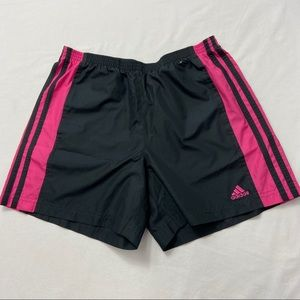 Adidas Ladies Black and Pink Workout Shorts